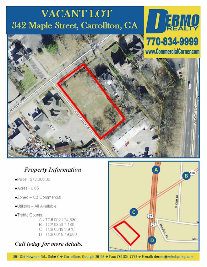 #1220 - 342 Maple Street, Carrollton, Georgia - Vacant Lot - C3 Commercial