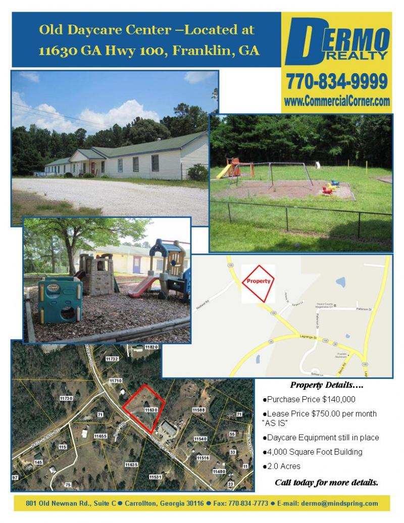 #8005 - Daycare in Franklin, GA on 2 Acres w/ 4k sq/ ft/ building for Sale