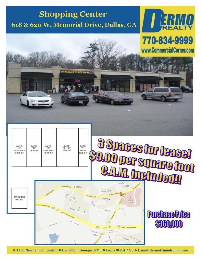 #9004 - 2 Lease Spaces in Shopping Center for Sale in Dallas, Georgia - 618 & 620 West Memorial Drive