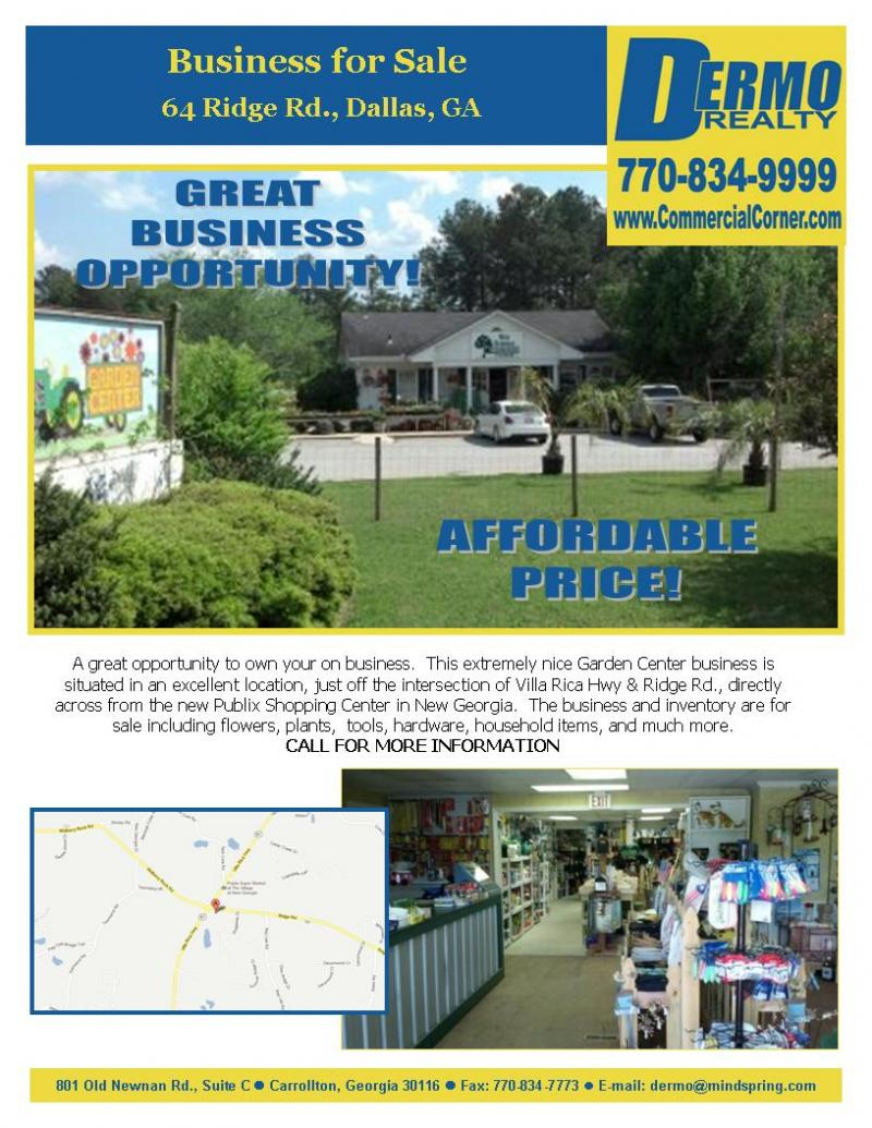 #9005 - Turnkey Garden Center Business w/ Inventory For Sale in Dallas, Georgia